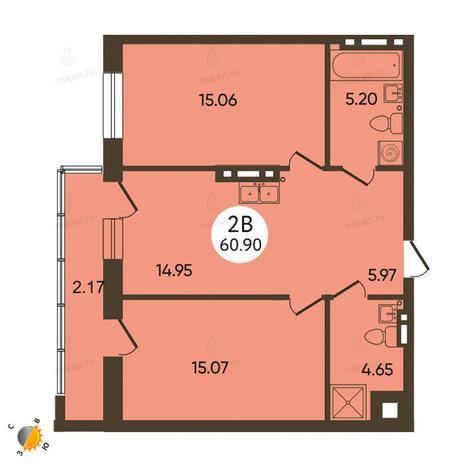 Вариант №2109, 3-комнатная квартира в жилом комплексе