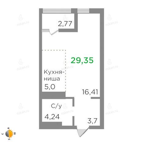 Вариант №2130, 1-комнатная квартира в жилом комплексе