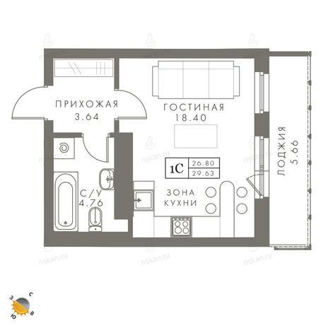 Вариант №2447, 1-комнатная квартира в жилом комплексе