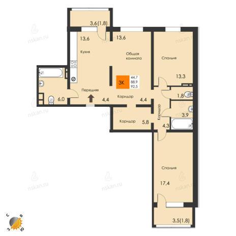 Вариант №2314, 3-комнатная квартира в жилом комплексе
