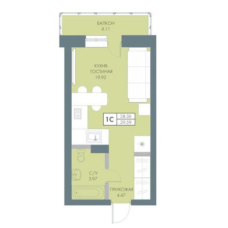 Вариант №4228, 1-комнатная квартира в жилом комплексе