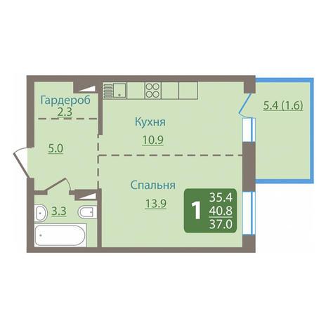 Вариант №3027, 1-комнатная квартира в жилом комплексе Европейский Берег