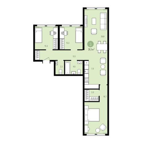 Вариант №5008, 4-комнатная квартира в жилом комплексе Пшеница