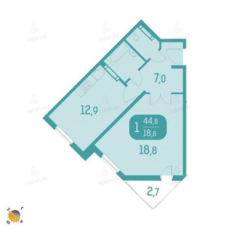 Вариант №2327, 1-комнатная квартира в жилом комплексе Аквамарин