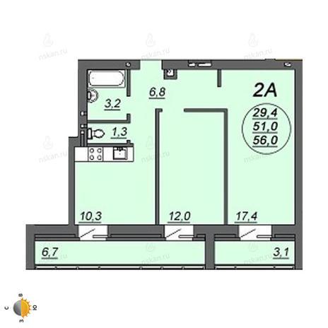Вариант №2244, 2-комнатная квартира в жилом комплексе