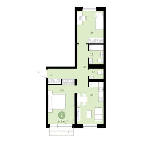 Вариант №4638, 3-комнатная квартира в жилом комплексе