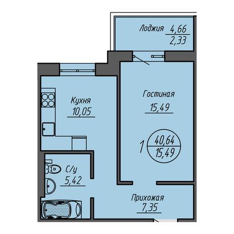 Вариант №3209, 1-комнатная квартира в жилом комплексе Облака