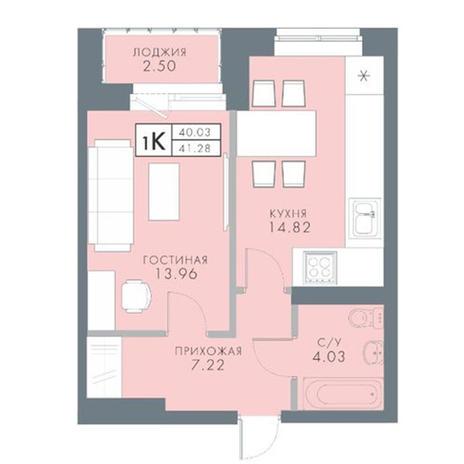 Вариант №2825, 1-комнатная квартира в жилом комплексе