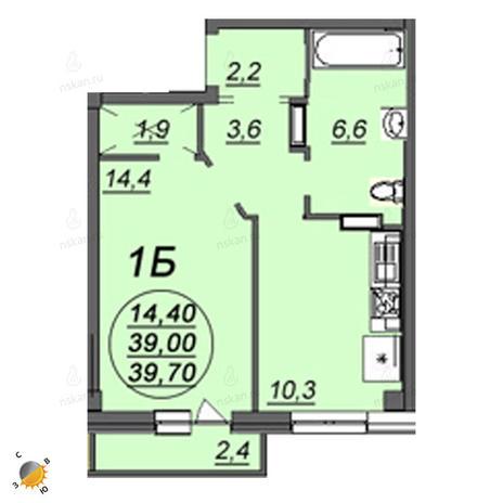 Вариант №2347, 1-комнатная квартира в жилом комплексе Приозерный