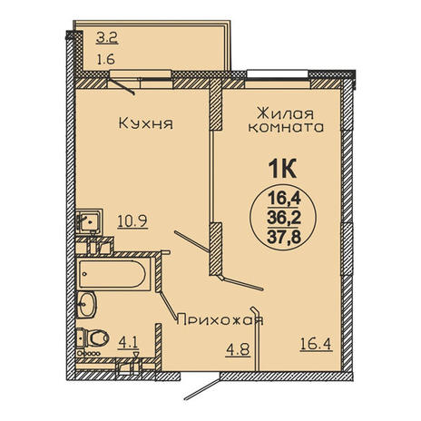 Вариант №3062, 1-комнатная квартира в жилом комплексе