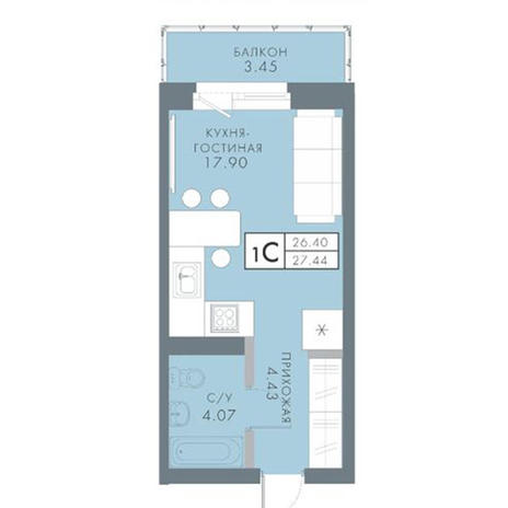 Вариант №2822, 1-комнатная квартира в жилом комплексе Традиции
