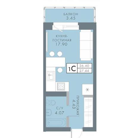 Вариант №2822, 1-комнатная квартира в жилом комплексе