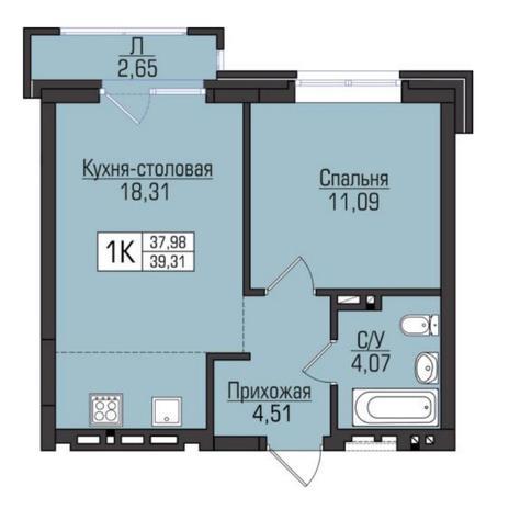Вариант №5104, 2-комнатная квартира в жилом комплексе