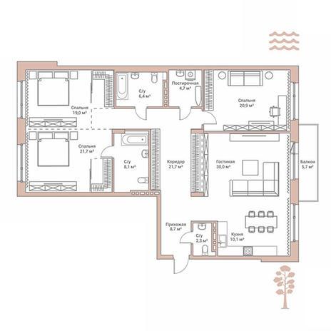 Вариант №2887, 4-комнатная квартира в жилом комплексе Flora & Fauna