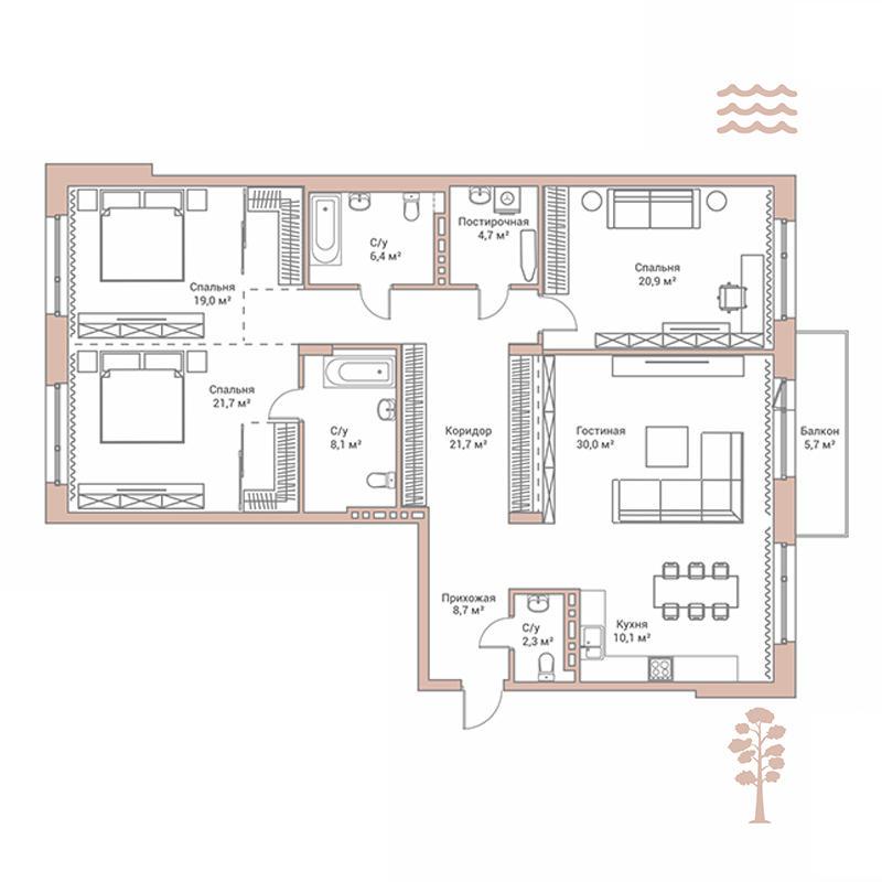 Планировка 4-комн. студия площадью 153.7 м<sup>2</sup> в ЖК Flora & Fauna
