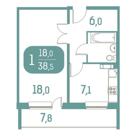 Вариант №2902, 1-комнатная квартира в жилом комплексе Аквамарин
