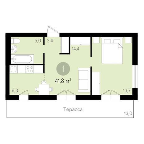Вариант №3460, 2-комнатная квартира в жилом комплексе Дунаевский