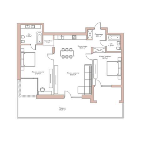 Вариант №5964, 3-комнатная квартира в жилом комплексе
