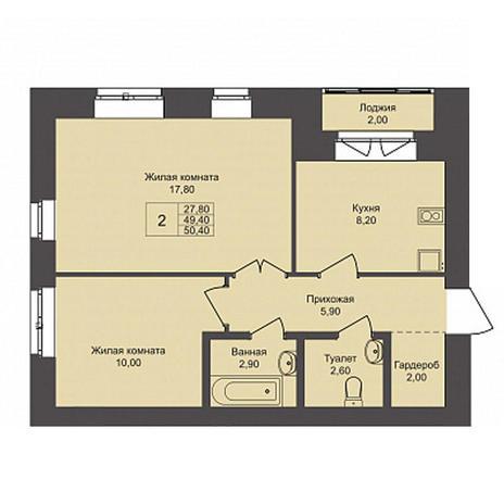 Вариант №3789, 2-комнатная квартира в жилом комплексе