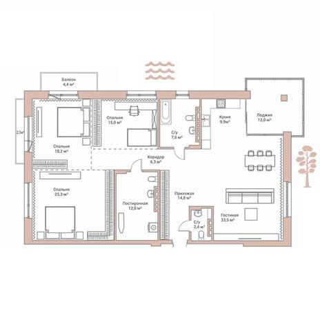 Вариант №2889, 4-комнатная квартира в жилом комплексе Flora & Fauna