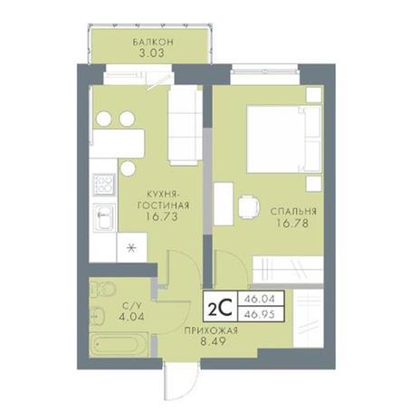 Вариант №2830, 2-комнатная квартира в жилом комплексе Традиции