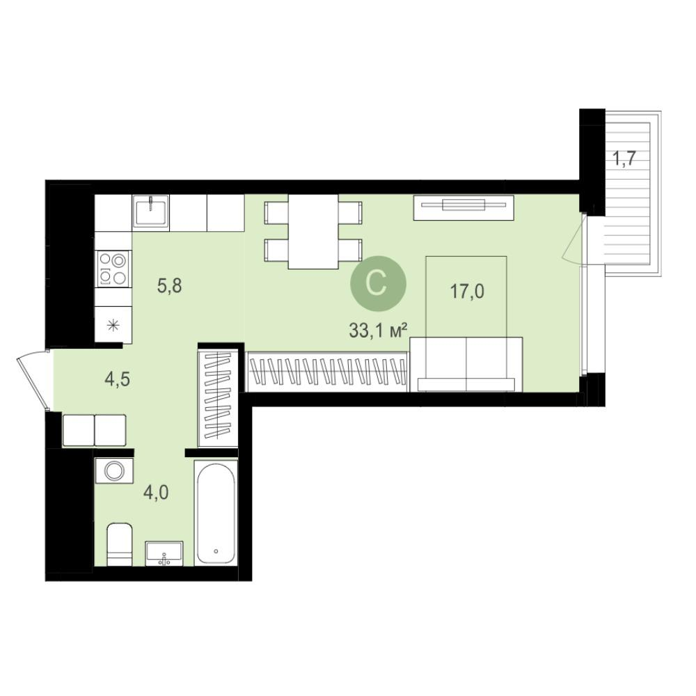 Планировка 1-комн. студия площадью 33.1 м<sup>2</sup> в ЖК Авиатор