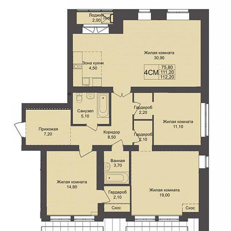 Вариант №3792, 4-комнатная квартира в жилом комплексе