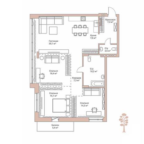 Вариант №2892, 4-комнатная квартира в жилом комплексе Flora & Fauna