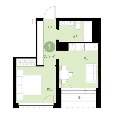 Вариант №4705, 1-комнатная квартира в жилом комплексе Европейский Берег