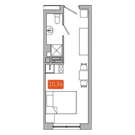 Вариант №5343, 1-комнатная квартира в жилом комплексе
