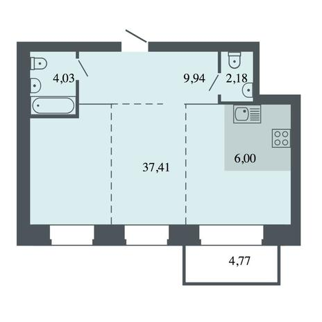 Вариант №4486, 3-комнатная квартира в жилом комплексе Спектр