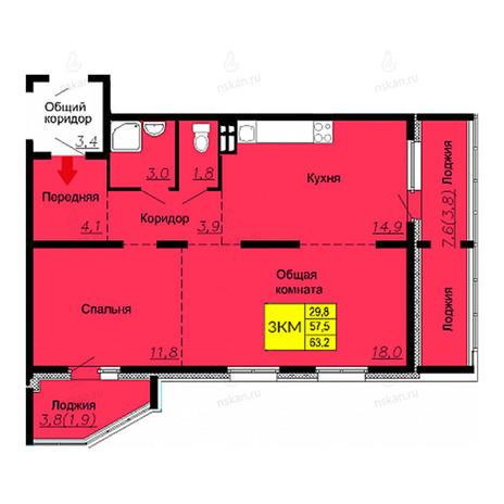 Вариант №2591, 3-комнатная квартира в жилом комплексе