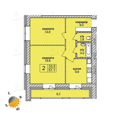 Вариант №1604, 2-комнатная квартира в жилом комплексе