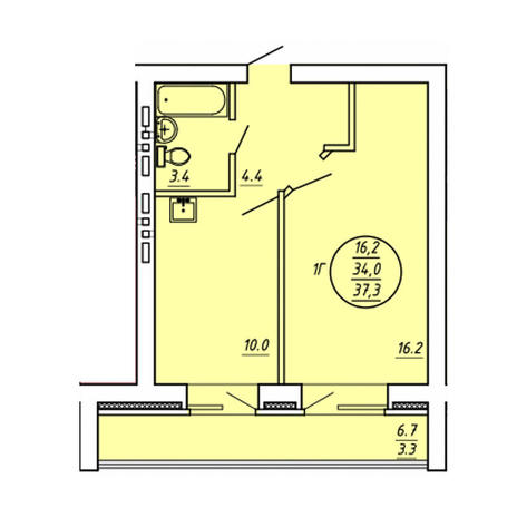 Вариант №3600, 1-комнатная квартира в жилом комплексе Свобода