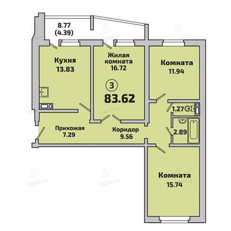 Вариант №2847, 3-комнатная квартира в жилом комплексе Родники