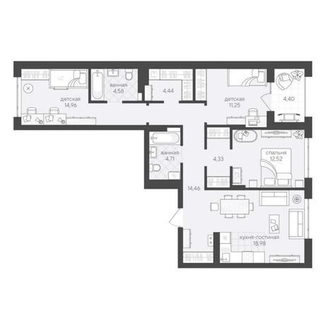 Вариант №6236, 4-комнатная квартира в жилом комплексе