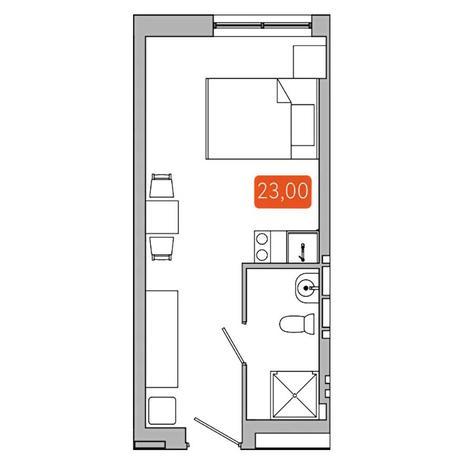 Вариант №5347, 1-комнатная квартира в жилом комплексе