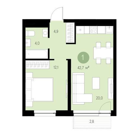 Вариант №4669, 2-комнатная квартира в жилом комплексе Европейский Берег