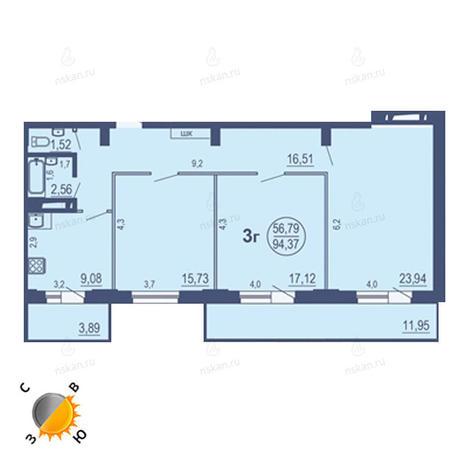 Вариант №1691, 3-комнатная квартира в жилом комплексе На Зыряновской