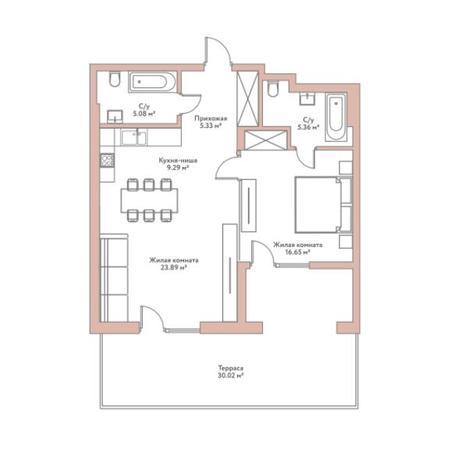 Вариант №5950, 2-комнатная квартира в жилом комплексе