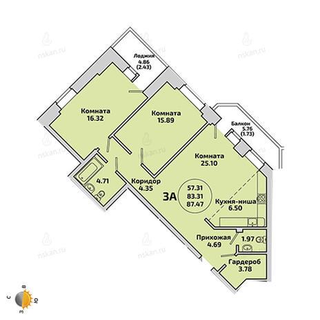 Вариант №1967, 2-комнатная квартира в жилом комплексе Приозерный