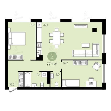 Вариант №2631, 3-комнатная квартира в жилом комплексе Квартал на Никитина