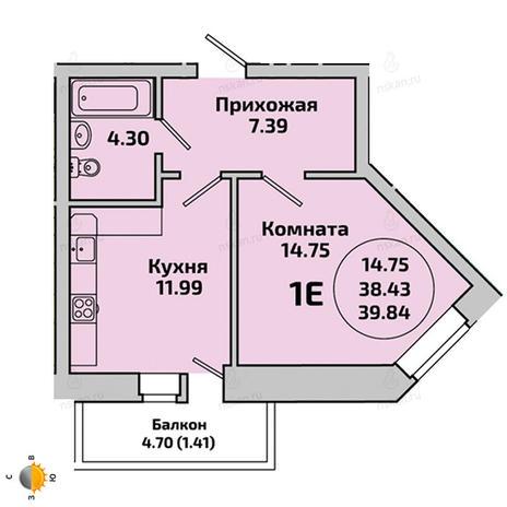 Вариант №1957, 1-комнатная квартира в жилом комплексе Приозерный