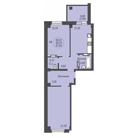 Вариант №4929, 2-комнатная квартира в жилом комплексе Свобода