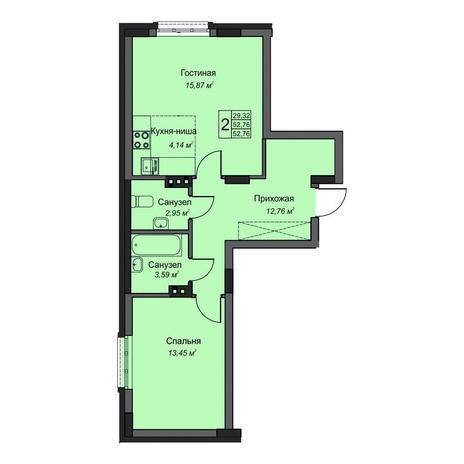 Вариант №3496, 2-комнатная квартира в жилом комплексе На Народной
