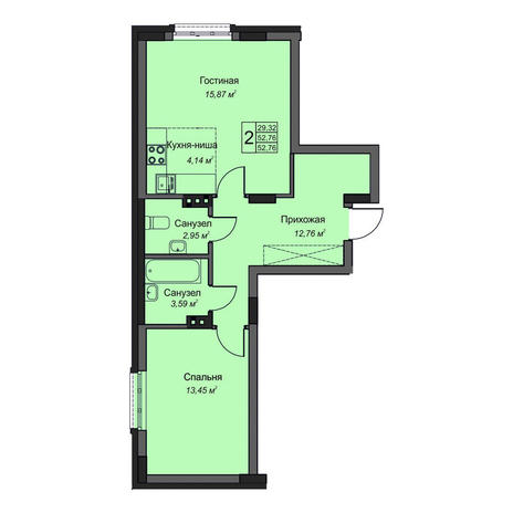 Вариант №3496, 2-комнатная квартира в жилом комплексе