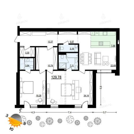 Вариант №905, 3-комнатная квартира в жилом комплексе Жуковка