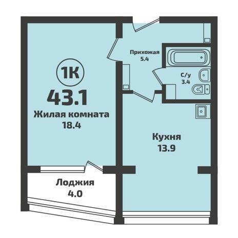 Вариант №5704, 1-комнатная квартира в жилом комплексе