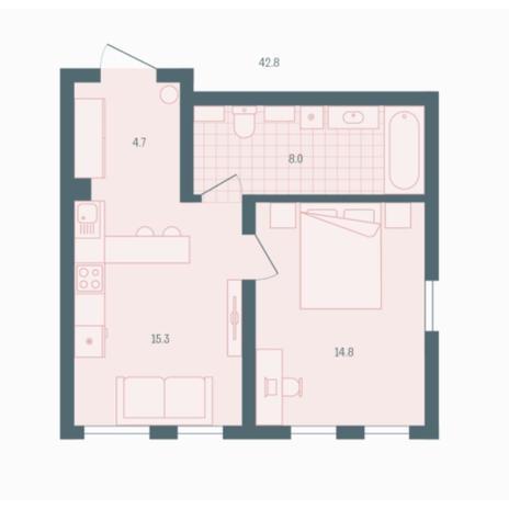 Вариант №5932, 1-комнатная квартира в жилом комплексе