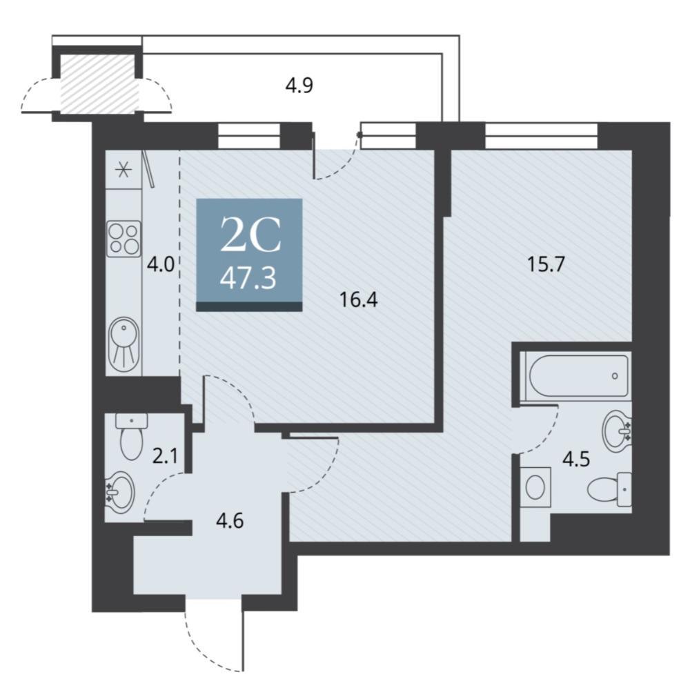 Планировка 2-комн. студия площадью 47.3 м<sup>2</sup> в ЖК Беринг